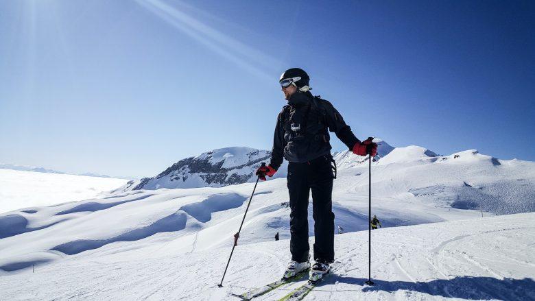 session de ski avec chaussures adaptées