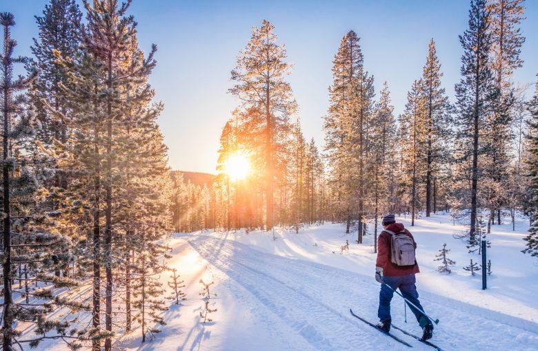 Vue panoramique d'un homme en train de faire du ski de fond sur une Piste