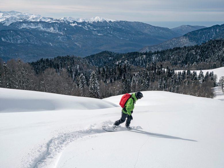 Homme actif faisant du snowboard sur de la neige poudreuse dans une forêt de montagne